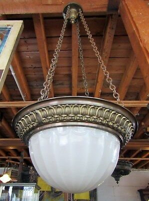VICTORIAN era BRASS HANGING CELING FIXTURE WITH HEAVY GLASS GLOBE