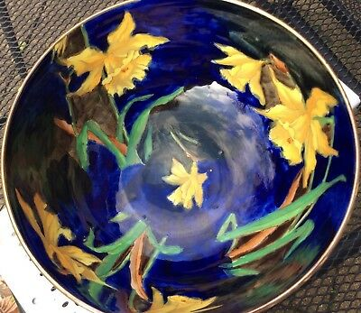 Rare  'Hancock and Sons, Corona Ware Hand Painted 'Daffodil' Large Bowl c1925