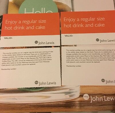 John Lewis coffee and cake vouchers