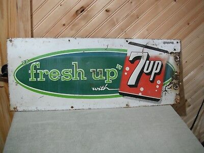 "7-Up ""fresh up"" soda sign advertising tin sign, Stout Sign Co., 30"" X 12"""