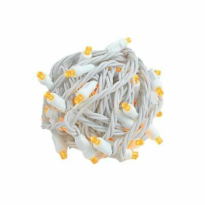 50 Light LED Christmas Mini Light Set, Patio Lights, Warm White, White Wire, 25'