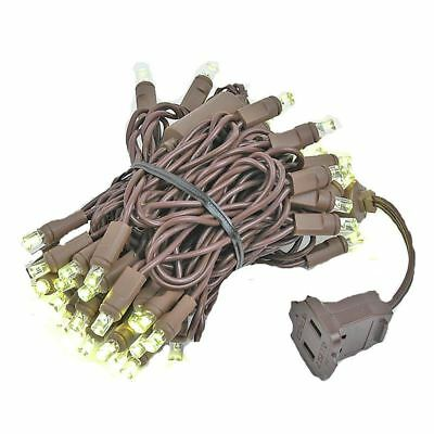 50 Light LED Christmas Mini Light Set, Patio Lights, Warm White, Brown Wire, 11'