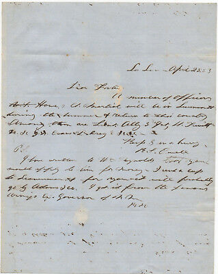 Confederate General Richard S. Ewell, autograph letter signed 1853