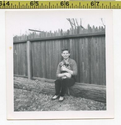 Vintage 1960's DOG photo / Teenage Girl Holds Pair of Nervous CHIHUAHUA Puppies