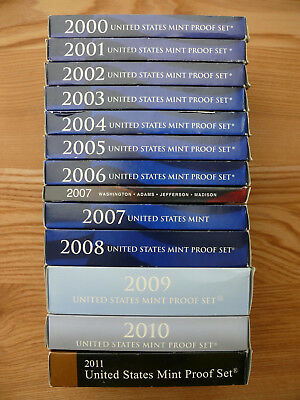 12 United States Mint Proof Sets 2000 bis 2011 - komplett - ungeöffnet in Hüllen