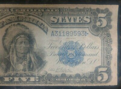 1899 Circulated Large Five Dollar $5 Indian Chief Silver Certificate