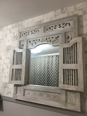 Vintage French Style Shabby Chic Shutter Mirror Laura Ashley pale French grey