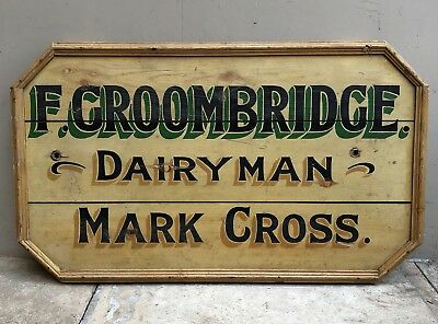 Early 20th Century Pine Dairy Sign. Original Paint.