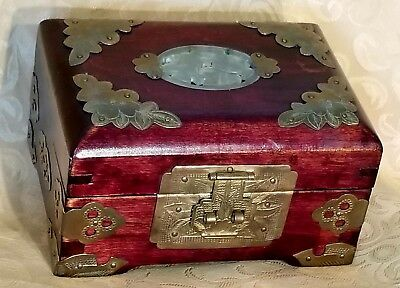 Antique Chinese Rosewood, Brass & Jade Jewelry Box Bats, Red Silk, Dovetailed