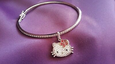 Hello Kitty Sterling Silver Sanrio Bracelet Paved with Charm