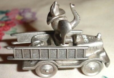 Spoontiques Pewter Mini Elephant Firefighter Driving Fire Truck. HARD TO FIND!