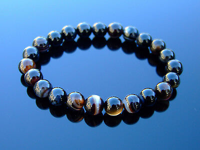 Black Agate Natural Gemstone Bracelet 6-9'' Elasticated Healing Stone Chakra