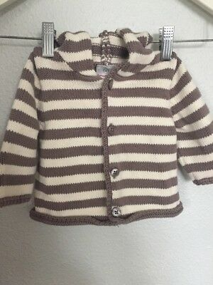 Hanna Andersson 60 Striped Brown Hooded Cotton Baby Sweater Organic Layette