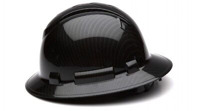 Pyramex HP54117S Ridgeline Graphite Full Brim Shiny Black Hard Hat 4 Pt Ratchet