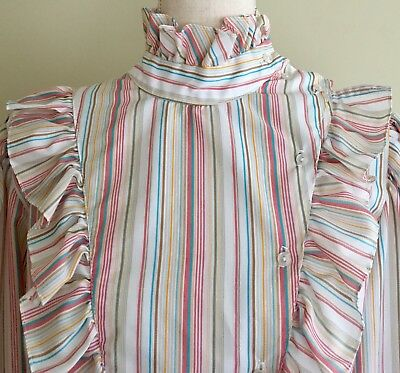Vintage 70's Victorian Ruffle Puffy Sleeve White Pastel Striped Top Blouse S