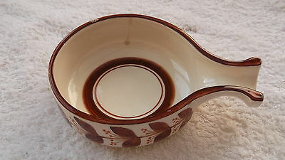 Jersey Pottery Sauce Bowl With A Brown Leaf Pattern  A/f