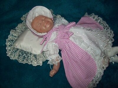 Pink and white Gingham, dress  set, REBORN 17-18 INCHES
