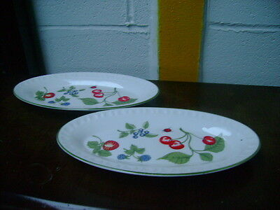 Two Crown Staffordshire Oval Plates In Hampton Pattern