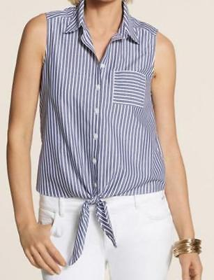 Chico's NEW Effortless Bryant Stripe Front Tie Top Blouse Blue Size 3 (16/18, L)