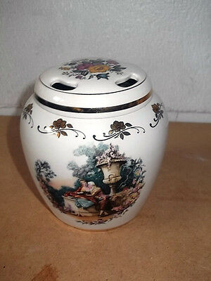 Lord Nelson Pottery Pot Pourri Jar With Courting Couple In Garden Scenes