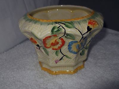 Ten Sidedsugar Bowl With A Basket Weave  And Floral Pattern  By  Beswick