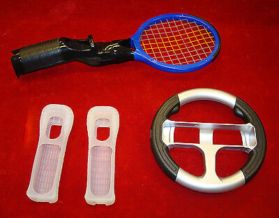 Lot of 4 Nintendo Wii Accessories & Attachments / Tennis Racquet / Steering Whee