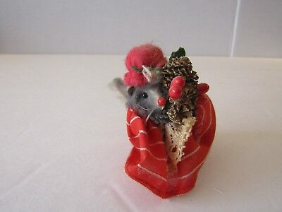 Mouse Factory Original Fur Animals Toy Mouse Pine Cone Christmas West Germany