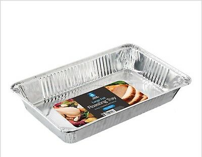 3 x VERY LARGE EXTRA DEEP DISPOSABLE ALUMINIUM FOIL ROASTING DISH CATERING TRAY