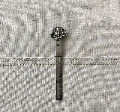 Antique Art Nouveau Unger Bros. Sterling Silver Hem Gauge Girl, Flower