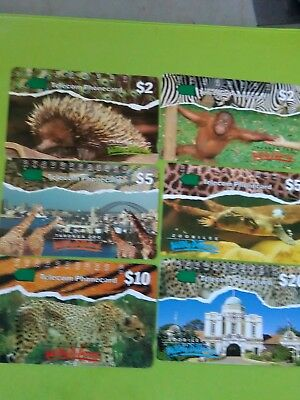 Set  x 6. 1 hole phonecards New South Wales prefix 49. 51. 54. 63. 66  70