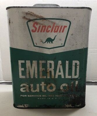 Vintage Sinclair Oil Can Emerald Auto Oil Can 2 Gallon Gas Station SHIPS FREE