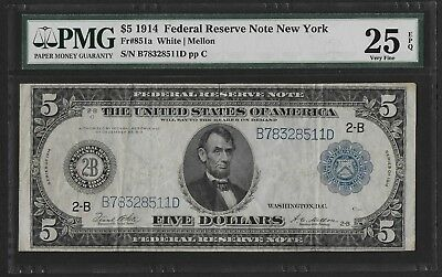 1914 $5 Federal Reserve Note, New York! PMG 25EPQ! Fr. 851a, Nice old note!