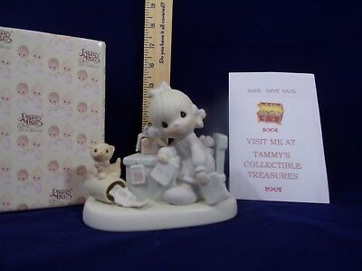 Precious Moments~1982~Praise The Lord Anyhow~E-9254 Girl Paying Bills~Vessel
