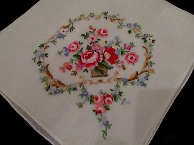 Vintage Elaborate petit point Embroidered Pink Floral hanky hand rolled