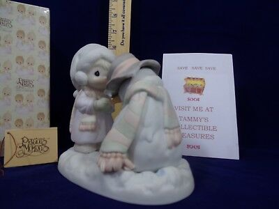 Precious Moments~1990~We're Going To Miss You~ Boy W Snowman`524913 Vessel