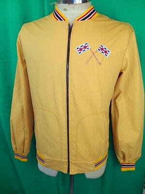 Vintage 1960s 70s Gold Poly Cotton Zip-Up New Apparels Hot Rod Racing Jacket S