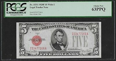 1928F $5 Legal Tender Note! Fr. 1531, PCGS CHOICE NEW 63PPQ! AWESOME RED SEAL!
