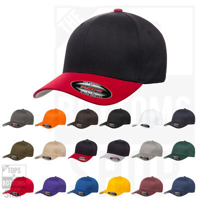 Flexfit Cotton Blend Fitted Baseball Cap Structured Hat Mid Profile 6277 New!