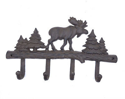 Cast Iron Moose Wall Key Rack Holder Coat Hook Home Lodge Cabin Hunting Decor