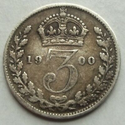 Great Britain 1900 3 Pence Silver #km-777 World Coin