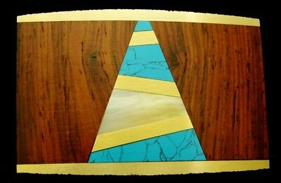 LK24146 *NOS* VINTAGE 1970s SST **WOOD, SHELL & STONE INLAY** SOLID BRASS BUCKLE
