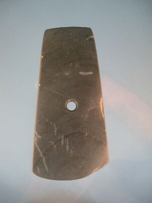 "Authentic 4 1/2"" Banded Slate Adena Drilled Nice Patina Dekalb co, Ind Gorget"