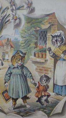Antique 19th C Lithograph Victorian Cats Kittens Naughty Tommy wont go to School