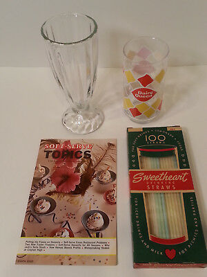 Unique Lot of Dairy Queen and Ice Cream Soft Serve Glass Straws and Topics