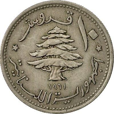 [#429337] Lebanon, 10 Piastres, 1961, EF(40-45), Copper-nickel, KM:24