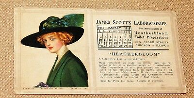 Advertising Ink Blotter James Scott Laboratories 1915 Calendar-Pretty Lady