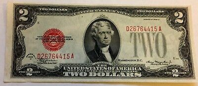 1928 D $2 Two Dollar Bill United States Legal Tender Red Seal Note Uncirculated!