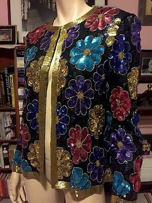 Vintage SILK BEADED SEQUINED SPARKLY FLORAL HOLIDAY EVENING JACKET Top Quality M