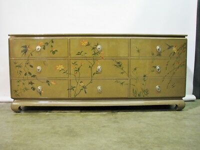 Custom Ron Seff Asian Inspired Dresser Handpainted + Original Concept Drawings