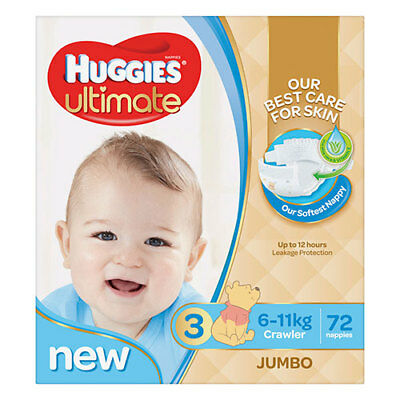 NEW Huggies Ultimate Crawler Nappies for Boys - 72 Pack